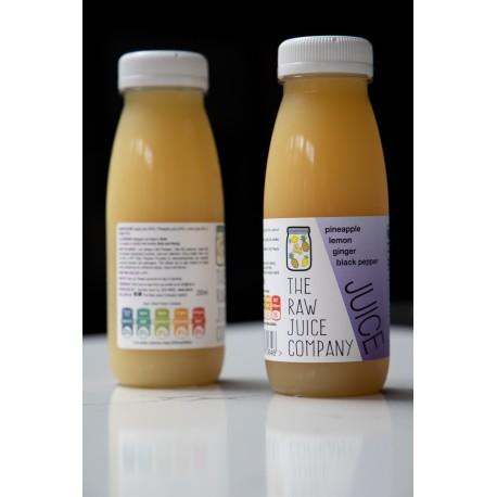 250ml Apple, Pineapple, Lemon & Ginger Juice - 100% Raw, Cold Pressed, Natural Juice.