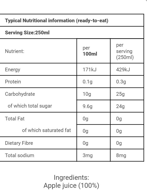 SA Nutritional 250ml Apple Juice